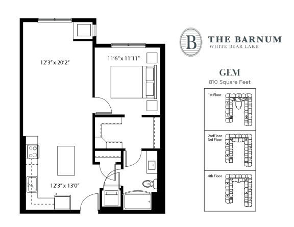 Floor Plan  Gem Floor Plan at The Barnum, White Bear Lake