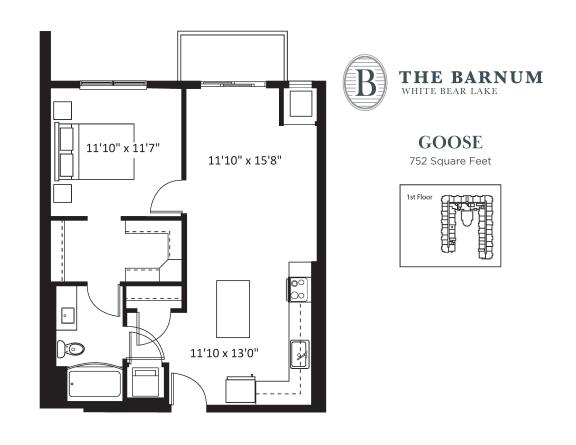Floor Plan  Goose Floor Plan at The Barnum, White Bear Lake, Minnesota