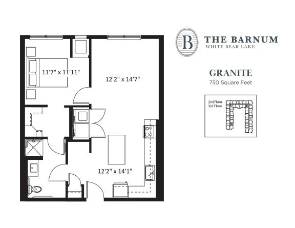 Floor Plan  Granite Floor Plan at The Barnum, Minnesota, 55110