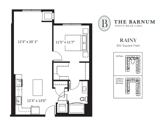 Floor Plan  Rainy Floor Plan at The Barnum, Minnesota