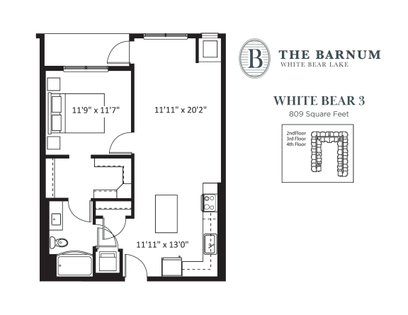 White Bear Floor Plan at The Barnum, White Bear Lake, MN
