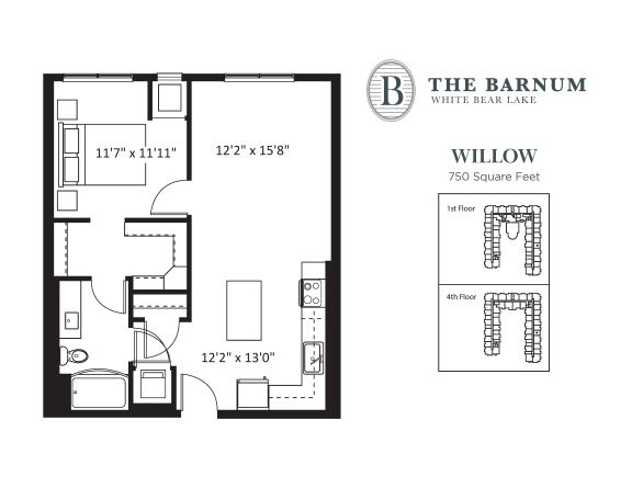 Floor Plan  Willow Floor Plan at The Barnum, White Bear Lake, 55110