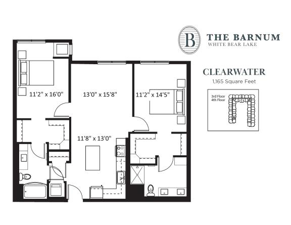 Floor Plan  Clearwater Floor Plan at The Barnum, White Bear Lake, MN
