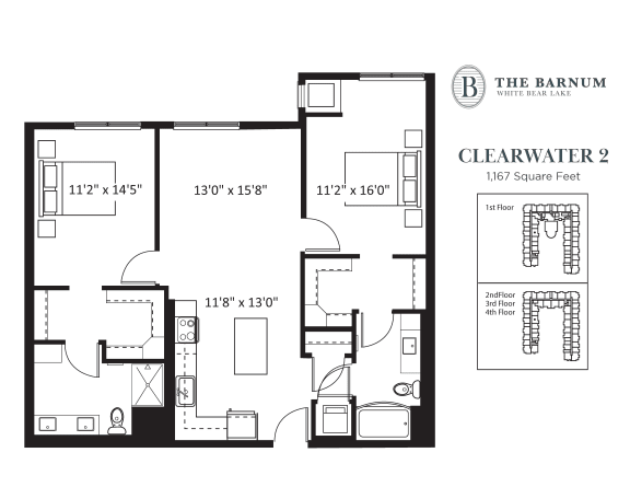 Clearwater Floor Plan at The Barnum, White Bear Lake, MN, 55110