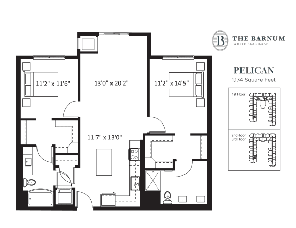 Floor Plan  Pelican Floor Plan at The Barnum, Minnesota, 55110