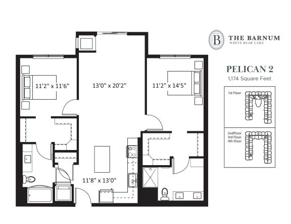 Floor Plan  Pelican Floor Plan at The Barnum, White Bear Lake, Minnesota