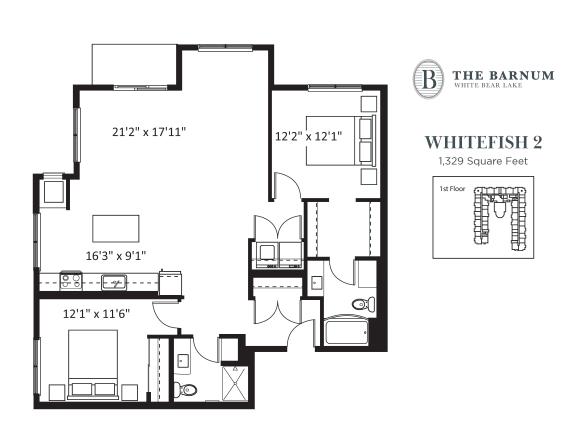 Whitefish Floor Plan at The Barnum, White Bear Lake, MN, 55110
