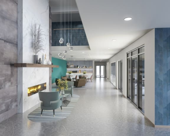 rendering of 1st floor lobby with fireplace, modern light fixture, coffee bar