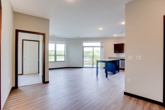 beautiful floor plan with vinyl throughout the living areas at Lake Jonathan Flats, Minnesota