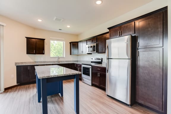 beautiful kitchen with custom cabinetry and window over the sink at Lake Jonathan Flats, Chaska, 55318