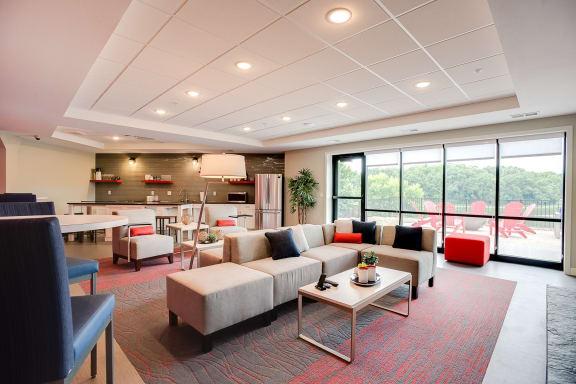Clubhouse Lounge Area at Lake Jonathan Flats, Chaska, MN, 55318