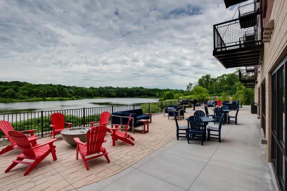 outdoor patio at Lake Jonathan Flats, Chaska, 55318