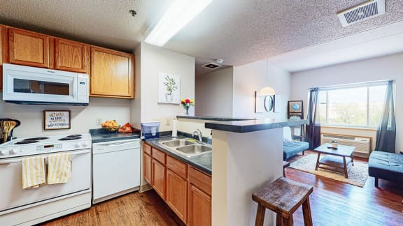 full kitchen with dishwasher, microwave,