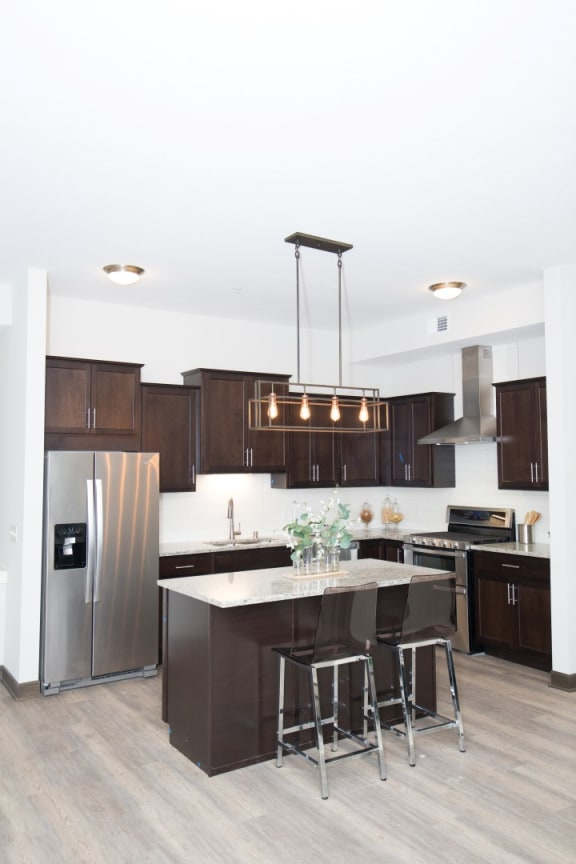 Lovely Espresso Colored Cabinetry in Bird Town Flats Kitchens and Bathrooms at Birdtown Flats, Robbinsdale