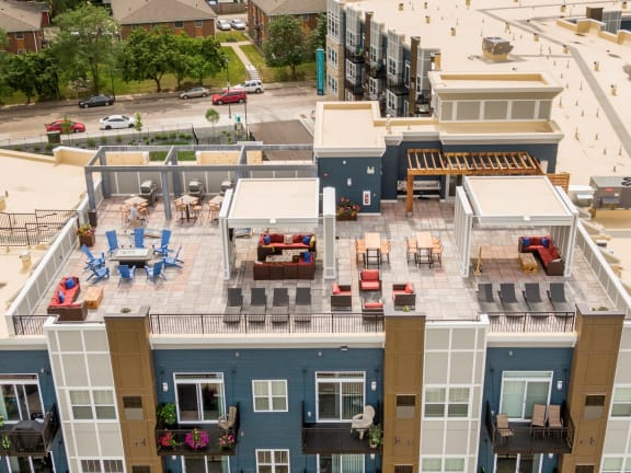 Aerial view rooftop lounge at Birdtown Flats, Robbinsdale