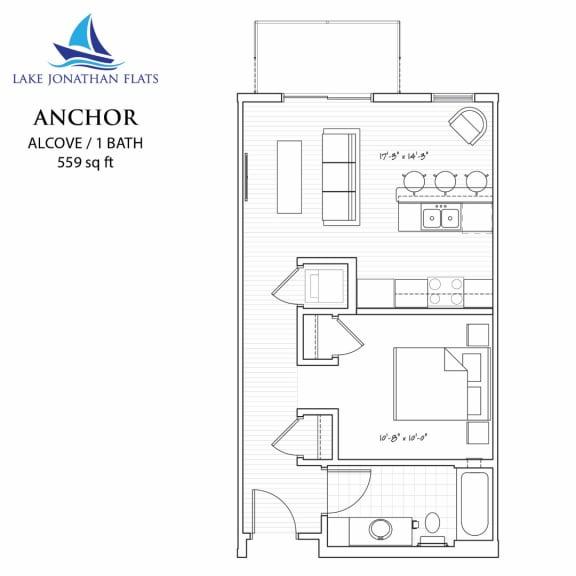 Floor Plan  0 Bed 1 Bath Floor Plan at Lake Jonathan Flats, Chaska, 55318