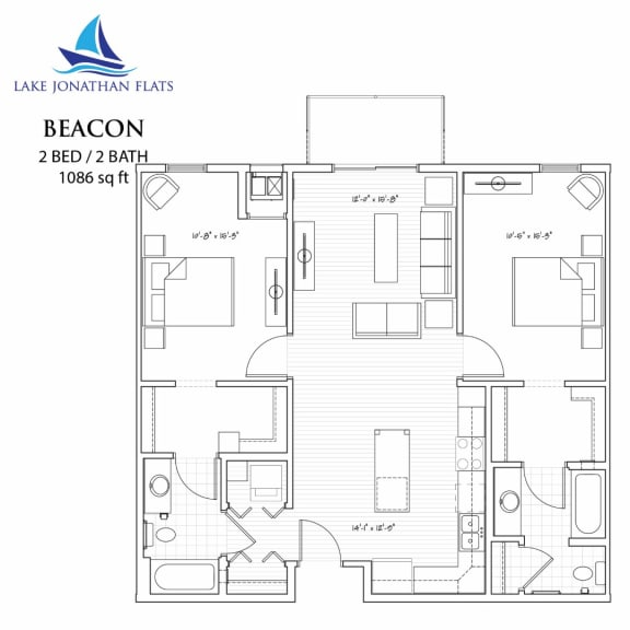 Floor Plan  Beacon 2 Bed 2 Bath Floor Plan at Lake Jonathan Flats, Chaska, MN