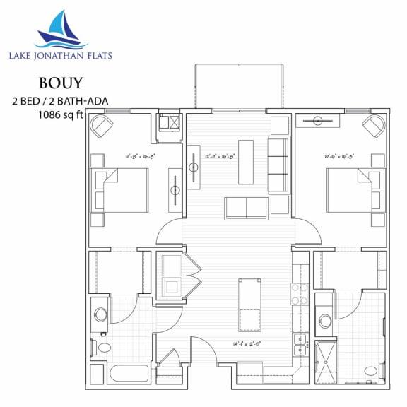Floor Plan  Buoy 2 Bedroom 2 Bathroom Floor Plan at Lake Jonathan Flats, Chaska, 55318