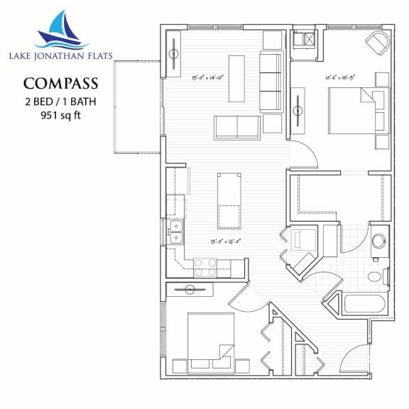 Floor Plan  Compass 2 Bedroom 2 Bathroom Floor Plan at Lake Jonathan Flats, Chaska, MN, 55318