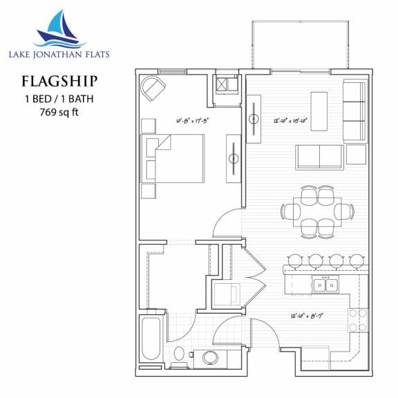 Floor Plan  1 Bed 1 Bath Floor Plan at Lake Jonathan Flats, Chaska, MN