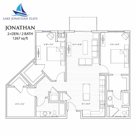 Floor Plan  Jonathan 2 Bedroom 2 Bathroom Floor Plan at Lake Jonathan Flats, Chaska, MN, 55318
