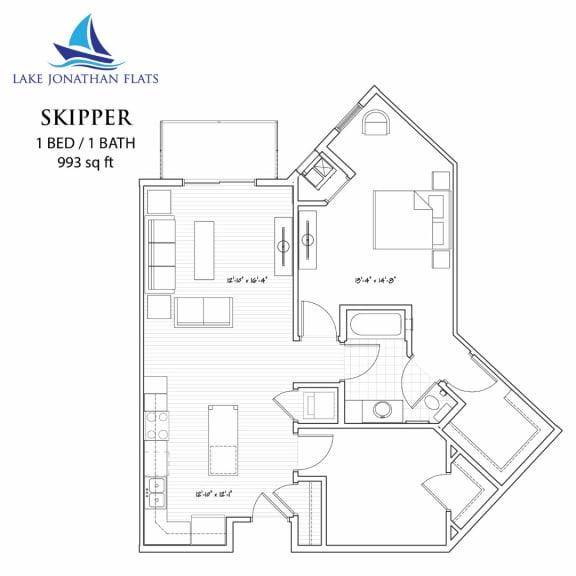 Floor Plan  Skipper 1 Bed 1 Bath Floor Plan at Lake Jonathan Flats, Minnesota, 55318