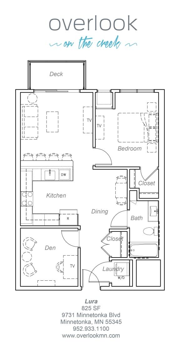 Floor Plan  Lura floor plan 825 square feet 1 bedroom plus den, 1 bathroom