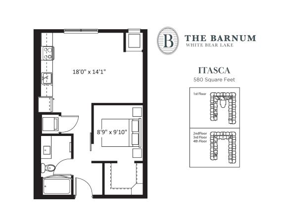 Floor Plan  Itasca Floor Plan at The Barnum, White Bear Lake