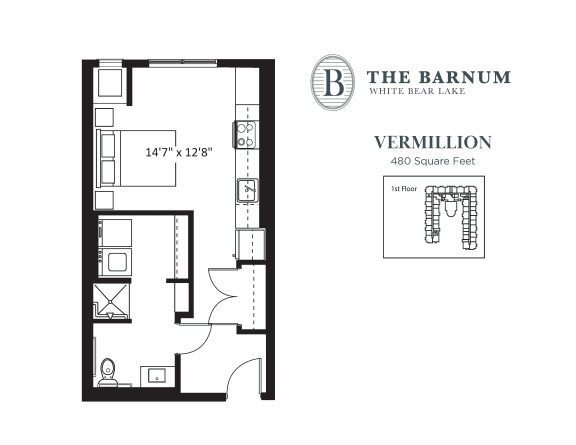 Floor Plan  Vermillion Floor Plan at The Barnum, White Bear Lake, Minnesota
