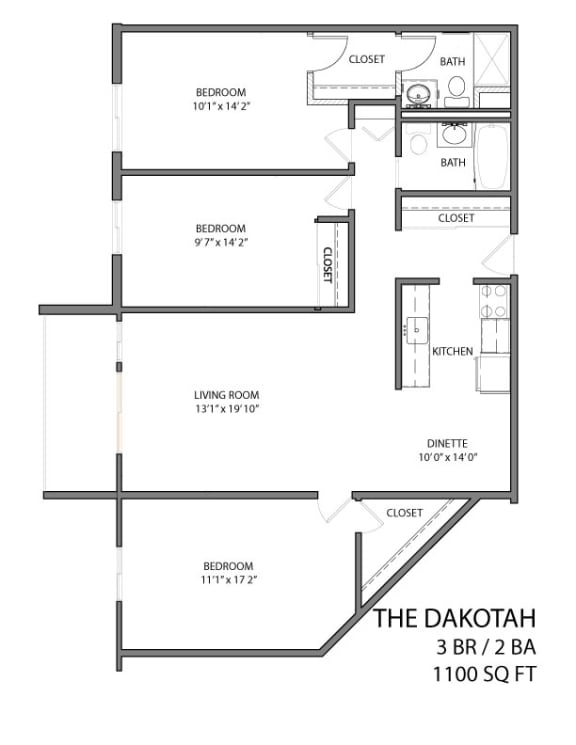 Floor Plan  The Dakotah floor plan with three bedroom and two bath