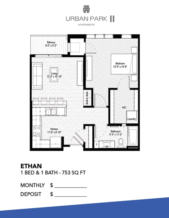 1 bedroom floor plan drawing, ethan