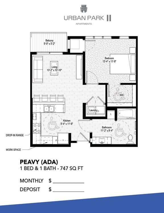 1 bedroom floor plan drawing, ada, peavy