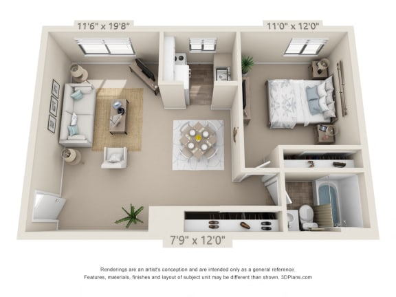 Floor Plan  This is a 3D floor plan of a 576 square foot 1 bedroom apartment at Red BankReserve Apartments in Cincinnati, OH.
