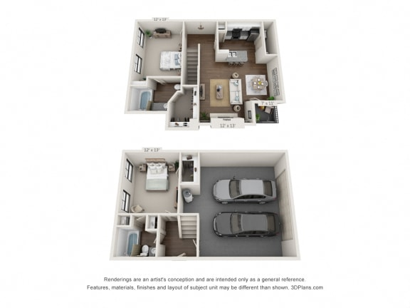 Floor Plan  This is a 3D floor plan of a 1071 square foot 2 bedroom apartment at The Brownstones Townhome Apartments in Dallas, TX.