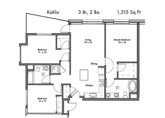 3 Bed, 2 Bath Floor Plan at Discovery West, Issaquah, 98029