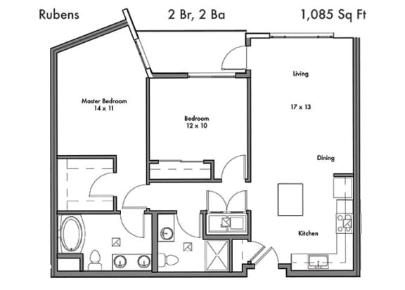 Floor Plan  Two Bed Two Bath Floor Plan at Discovery West, Issaquah, Washington