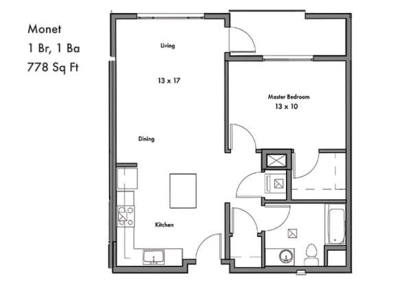 Floor Plan  1 Bedroom 1 Bathroom Floor Plan at Discovery West, Issaquah, WA
