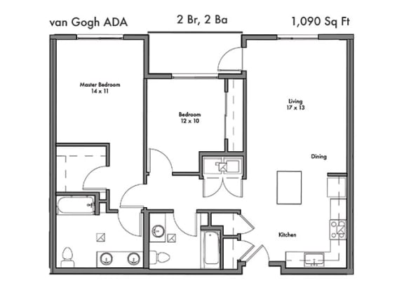 Two Bed Two Bath Floor Plan at Discovery West, Issaquah, WA, 98029