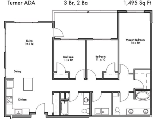 3 Bedroom and 2 Bath Floor Plan at Discovery West, Washington