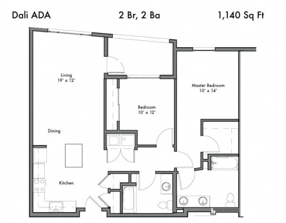 2 Bedroom 2 Bathroom Floor Plan at Discovery West, Issaquah, 98029