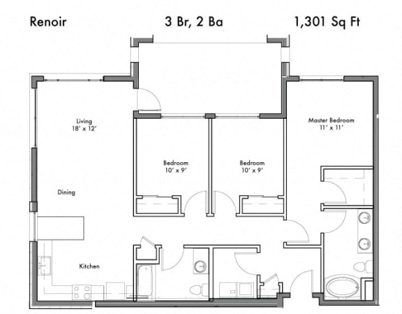 Three Bed Two Bath Floor Plan at Discovery West, Issaquah, WA, 98029