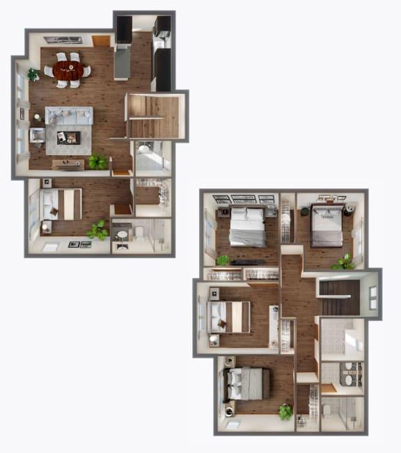5 Bedroom townhouse Floor Plan at Panorama, Washington, 98065