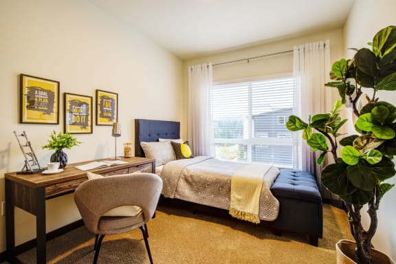 contemporary bedroom interior at  Discovery Heights in Issaquah, Washington