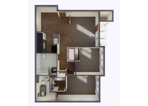 Two Bedroom Floor Plan_2 at Panorama, Snoqualmie, Washington