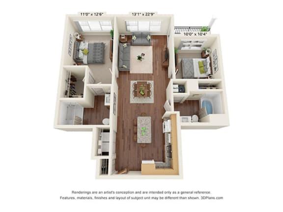 Floor Plan  Covington Crossings_2 Bedroom Floor Plan_B3-ADA