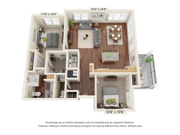 Floor Plan  Covington Crossings_2 Bedroom Floor Plan_B4