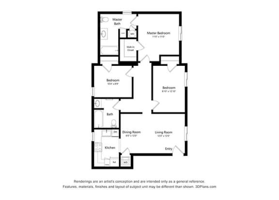 Floor Plan  Magnolia Court 3 Bedroom Floor Plan