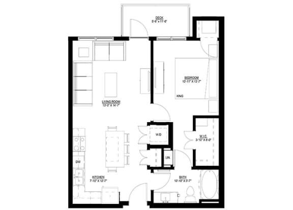 Floor Plan  1 Bedroom Floor Plan