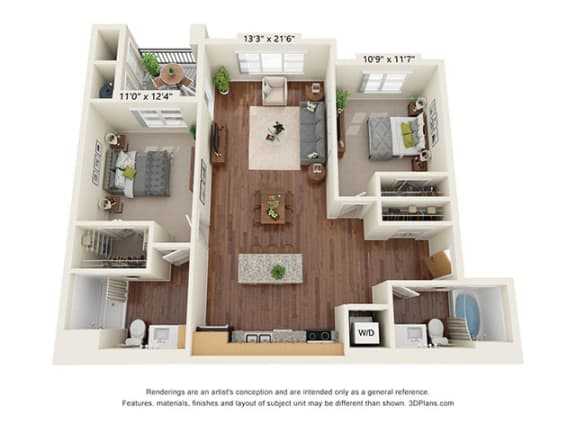 Floor Plan  Scharbauer Flats_2 Bedroom Floor Plan_B2