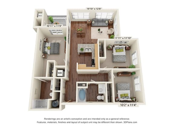 Floor Plan  Scharbauer Flats_3 Bedroom Floor Plan_C1-ADA